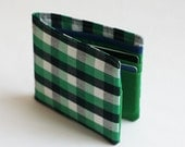 Mens wallet, Wallet, Billfold, Vintage Upcycled Fabrics, Green Lumberjack, Handmade by Knotted Nest on Etsy