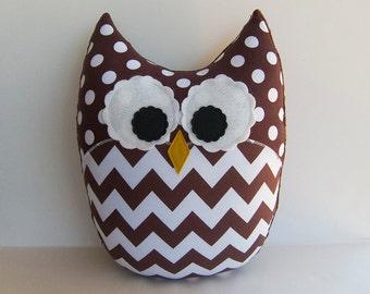 Brown Owl Pillow Chevron Large Plush Owl Nursery Decor