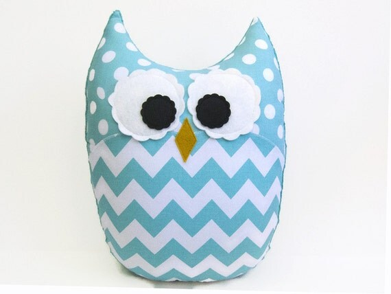 Large Plush Owl Chevron Pillow Zig Zag Aqua Teal Nursery Decor