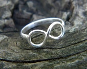 Infinity ring in sterling silver - variety of sizes or made to order
