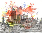 Nashville Abstract Cityscape Skyline Landscape Art Print From Original Watercolor Painting 17 x 22 in Large Wall Art Print