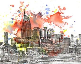 Nashville impresión paisaje abstracto horizonte paisaje arte de acuarela Original pintura 8 x 10 en la impresión del arte de Nashville