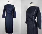 1950's /1960's Navy Blue Wiggle Dress with Bead Work