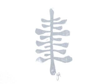 LINOCUT PRINT - Silver botanical succulent 8x10 letterpress