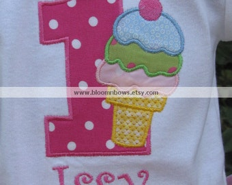 Personalized Ice Cream Social Birthday Shirt or Onesie