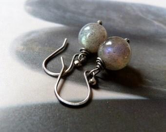 Labradorite sterling silver earrings, wire wrapped earrings, natural jewelry, dangle earrings