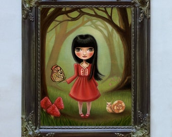 woodland fairytale girl The Bright Forest with custom frame pop surrealism by Marisol Spoon
