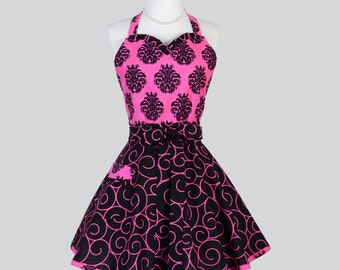 Sweetheart Retro Womans Apron , Flirty Sexy Cute Hostess Apron in Vintage Pink Black Damask and Scrolls Full Kitchen Cooking Womens Aprons