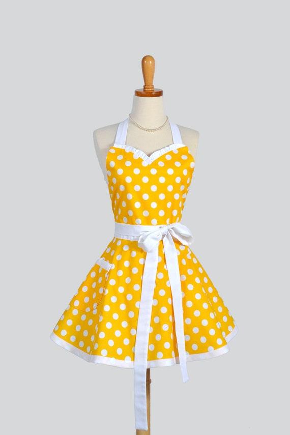 Sweetheart Retro Apron / Handmade Womens Full Kitchen Apron in Yellow and White Large Polka Dot