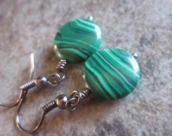 Natural Malachite Gemstone Earrings. Bright Green Coins, Heart Chakra Stone, Striped, Minimalist, Simple, Made in Canada, Philosophia
