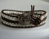 Mother of Pearl Beaded Leather Wrap Bracelet with Owl Button
