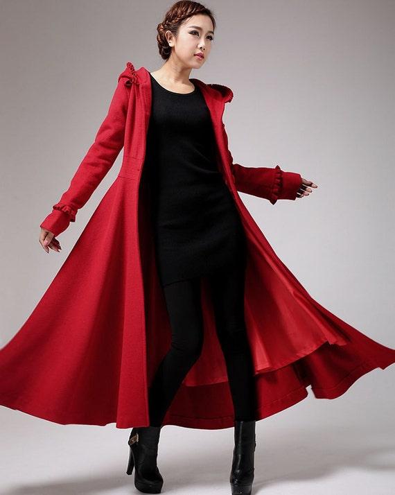 Red coat long coat wool coat hooded coat winter jacket