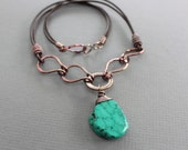 Statement copper necklace with real un-dyed turquoise on chocolate brown leather and handmade bulky chain