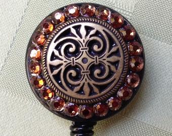 Security Badge Reel - Bronze Swirly Kim Brown - Decorated ID Badge Retractable Lanyard Reel - ID badge Holder - Beaded Retractable ID Clip