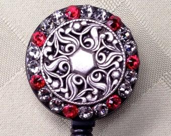 Retractable Badge Holder - Hex Swirl Evening Red - BadgeBling retratable lanyard reel - security badge clip - ID card belt clip - ID holder