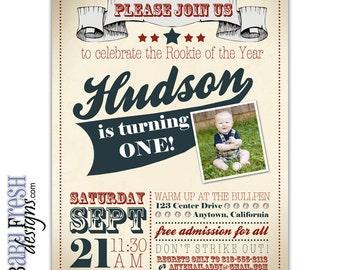 Baseball Birthday Invitation • Rookie of the Year Party Invite • Vintage Baseball Birthday • DIGITAL FILE