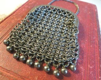 Antique Victorian Chatelaine Chainmaille Mesh Purse