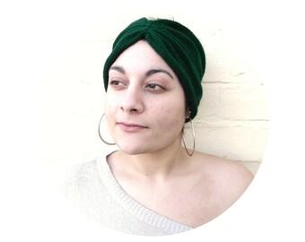 Emerald green headband, turban hat knit hair wrap, womens winter accessory.