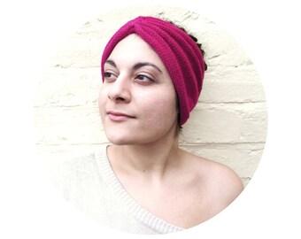 Pink headband, knit turban hat, womens bright winter accessory.