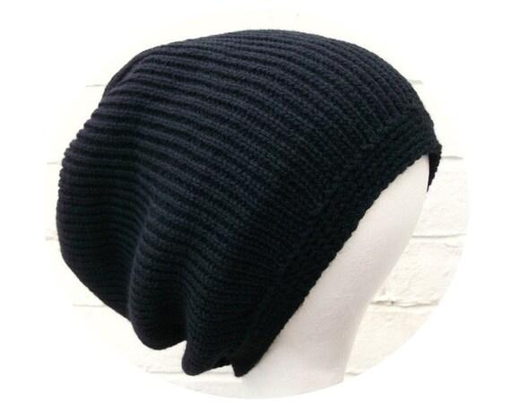 Black dreadlock tam hat, dread beanie, plain dreadlocks cover up.