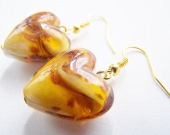Caramel Macchiato - Glass Heart Earrings - FREE SHIPPING WAI - warm caramel hearts with gold glitter sand - Spring - love Valentines Day