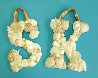 Beach Decor - Large Seashell Letter - All Letters Available - with or without Ribbon