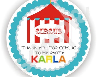 Circus Theme - 40 Thank You 2 inch circle Stickers - Favor Tag - Baby Shower - Envelope Seal - Address Label - Personalized