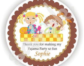 Pajama Party Theme - 40 Thank You 2 inch circle Stickers - Favor Tag - Baby Shower - Envelope Seal - Address Label - Personalized