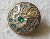Victorian Art Nouveau Button Green Jewel Cold Painted Brass c.1890