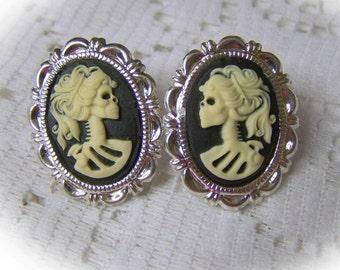 Lady Bones Skeleton Earrings - Goth - Miss Skeleton - Bella Morte - Silver Post Earrings - Black and Bone - Lolita