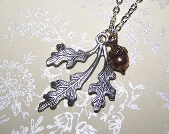 Oak Leaf  Acorn Necklace - Sterling Silver and Copper
