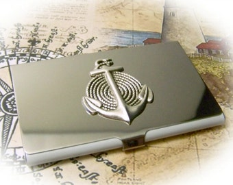 ANCHORS AWEIGH Business Card Holder NAUTICAL Anchors Away with Silver 3D Coiled Rope