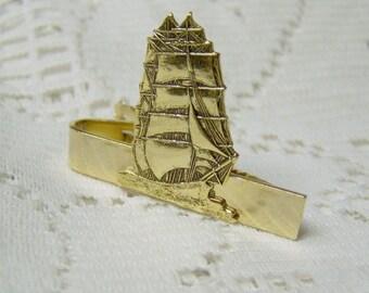 Clipper Ship Tie Bar Clasp - 18th Century - Antique Gold - Schooner Tie Bar - Pirate ShipTie Bar - Sailing Ship Tie Clasp