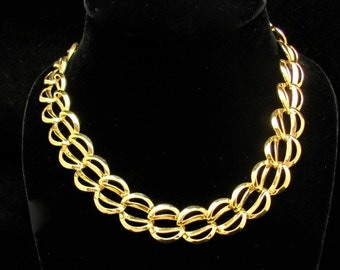"Vintage NAPIER Necklace Chain Gold Tone 16"" Choker  Statement Jewelry Napier Jewelry Hawaii Beads Vintage Jewelry"