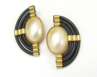 Vintage Modernist Earrings, Clip On Earrings, Vintage Pearl Earrings, Black Rubber Jewelry, Designer Earrings, Gift for Her, Gift under 50