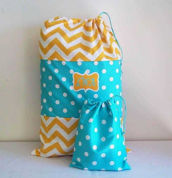 Laundry Bag and Matching Duffle in Bright Fun Colors, 16 x 24 With Drawstring Closure, Aqua Polka Dots, Yellow Chevron