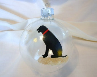 Handpainted Black Lab Dog Personalized Ornament, dog Christmas ornament, painted ornament, handpainted ornament, pet ornament