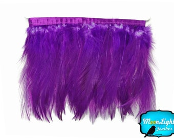 Rooster Trim, 1 Yard - PURPLE Rooster Neck Hackle Feather Trim : 3186