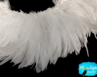 Rooster Feathers, 4 Inch Strip - Natural WHITE Strung Rooster Saddle feathers : 433