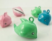 6 Dolphin Bells 17mm - Jump Rings Included - Pink, Green or Blue