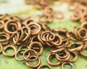 100 Antique Copper Jump Rings - Vintage Look - 22, 20, 18, 16 Gauge - Best Commercially Made - 100 % Guarantee