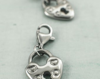 1 Stainless Steel Lock Heart Charm Version 2 - With Lobster Clasp - 100% Guarantee