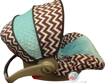 Car Seat Cover Brown Chevron Infant