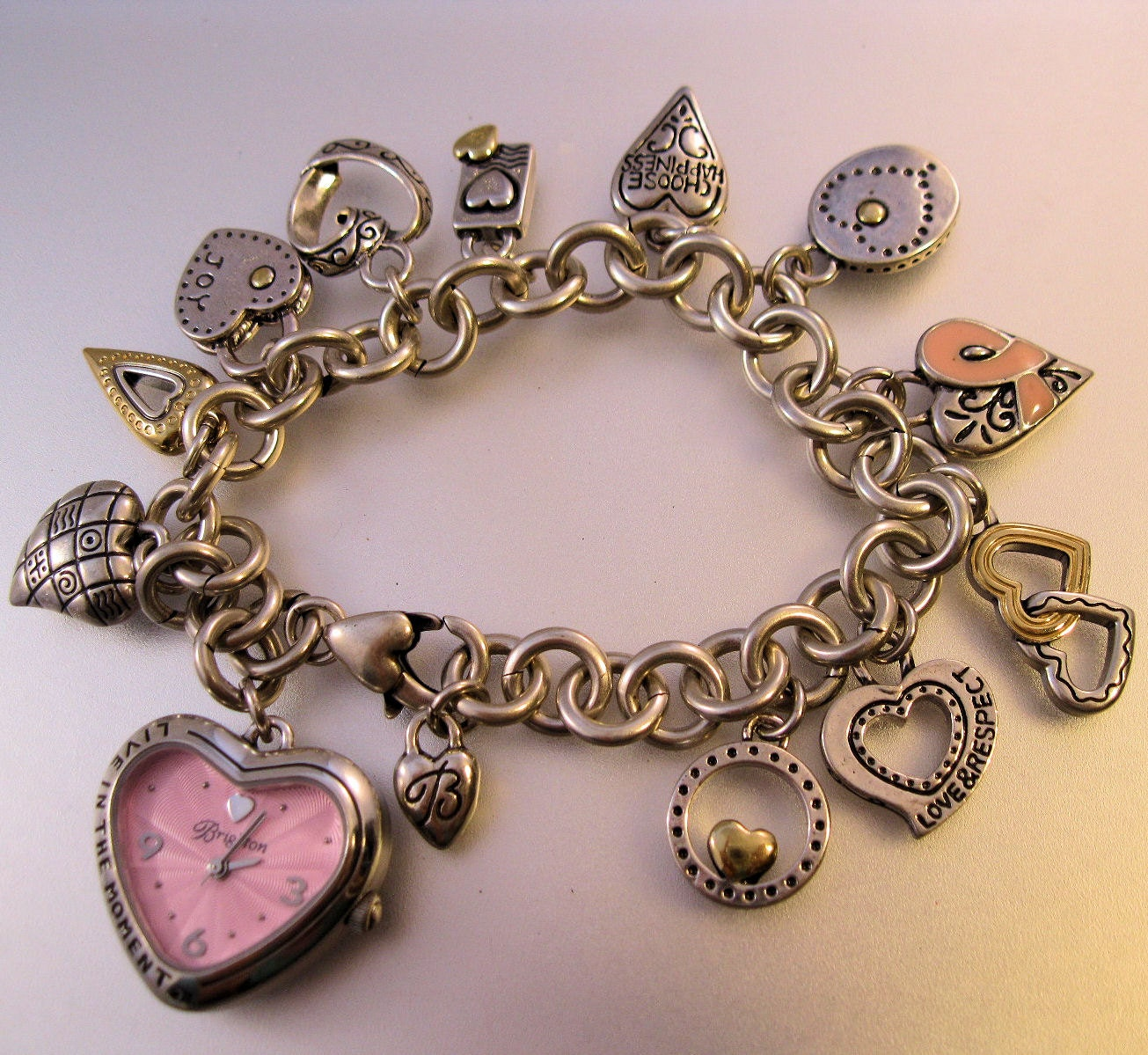 Charm Bracelet Watches: BRIGHTON Charm Bracelet Watch Breast Cancer Awareness