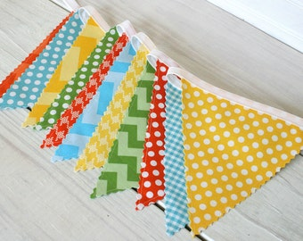 Bunting Banner, Photo Prop, Fabric Flags, Birthday Decoration, Nursery Decor - Yellow, Orange, Aqua Blue, Green, Chevron