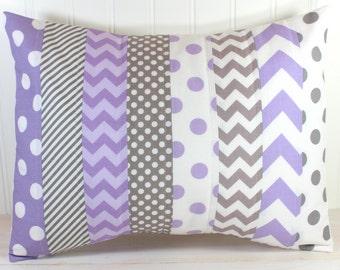 Throw Pillow Cover, Nursery Cushion Cover, Baby Girl Nursery Decor, Playroom Pillow Cover, 12 x 16 Inches, Lavender, Purple, Gray Chevron