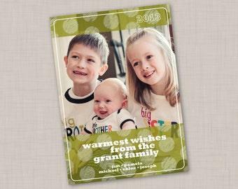 Green Holidot Photo Holiday Card (Vertical)