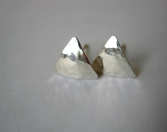 Small Hammered Triangle Mirror Sterling Silver Stud Earrings