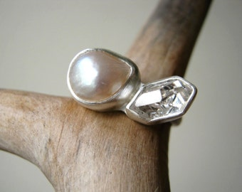 Engagement Ring with Herkimer Diamond and White Pearl in Sterling Silver and fine silver