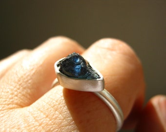 Reserved! Custom Rough Sapphire Ring - in Sterling Silver and Pure Silver
